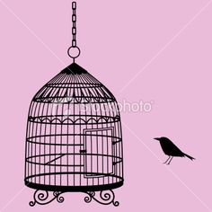 bird and cage silhouette Royalty Free Stock Vector Art Illustration