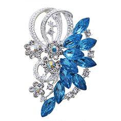 nice Silver Rhinestone Flower Prom Brooches Wedding Bridal Pin Blue