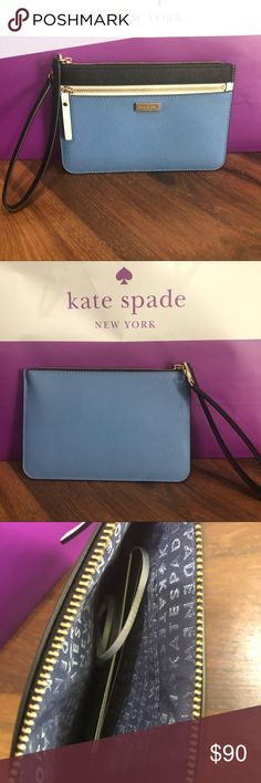 """❤️Steal of the DAY❤️Kate Spade Laurel Way Tinie Kate Spade ♠️ Laurel Way Tinie NWT WAS $90 Lowered to $58 DEBUTED 12.05.2017  Wristlet / Wallet / Clutch Tri-Color: Tile, Cement & Black 14-karat gold plated hard ware wristlet with zipper closure 4 interior credit card slots and exterior zipper pocket kate spade new york signature staple 4.8""""h x 7.3""""w I do accept offers. When offering please be mindful this item is new with tags and P takes 20%. Same/next day shipping! ✈️  Please ask all…"""