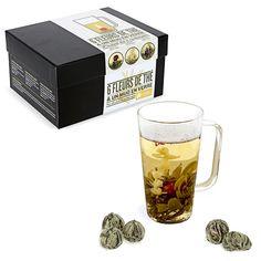Coffret 6 fleurs de thé et mug en verre - Pour une pause thé spectaculaire - 25 €