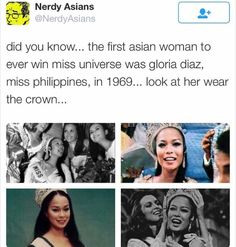 """It was a real great story actually. She was asked, """"Is it true that you Filipinos use your hand when you eat?"""" (because one of Filipino cultures include eating in bare hands) She shut them down with, """"Why, do you use your feet? Asian Problems, Filipino Memes, Pinoy Quotes, Injustices In The World, Miss Philippines, Filipino Culture, Canadian Men, Random Gif, Filipina Beauty"""