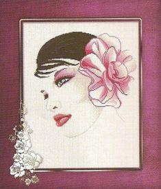 0 point de croix fleur dans les cheveux - cross stitch flower in her hair
