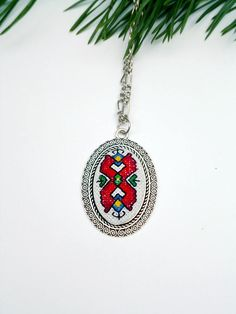 Ethnic jewelry Eastern embroidery Gift for mother Elegant gift Ethnic Jewelry, Unique Jewelry, Keep Jewelry, Mother Gifts, Birthday Gifts, Christmas Gifts, Cross Stitch, Pendant Necklace, Embroidery