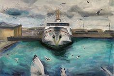 Oil painting done in March 2021. #art #artoftheday #shipatthedocks #shipart #boatart #seagull #saatchiart #artmaze #dianadzene #oilpainting #oiloncanvas #artsy #atthedocks #seapainting #marinapainting #marinaart #experiencedship #paintingoftheday #arte Oil On Canvas, Canvas Art, Original Paintings, Original Art, Ship Paintings, Boat Art, Ship Art, Art Day, Saatchi Art