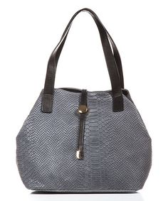 Loving this Gray Croc-Embossed Double-Handle Leather Tote on #zulily! #zulilyfinds