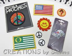 Embroidered Iron On Patches Mixed Lot Peace Sign Patch Set American Ecology Movement Flag VW Beetle Love Bug Sun Flower Power Appliques by CREATIONSbySabine, $10.00
