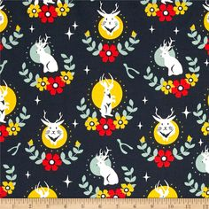 Birch Organics Tall Tales Jackalope Dusk from @fabricdotcom  Designed by Arleen Hillyer for Birch, this GOTS certified organic cotton is perfect for quilting, apparel, and home decor accents. Colors include navy, teal, golden yellow and orange-red.