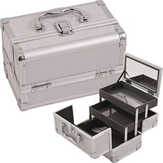 Makeup Cosmetic Beauty Train Organizer Case with Mirror and Easy Clean Extendable Trays (Silver Smooth)