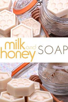 Learn how to make easy milk and honey soap at home! No-lye to deal with! Learn how to make easy milk and honey soap at home! No-lye to deal with! Lye Soap, Soap Molds, Diy Soap No Lye, Diy Soap Video, Honey Soap, Soap Making Supplies, Homemade Soap Recipes, Homemade Soap Bars, Milk And Honey