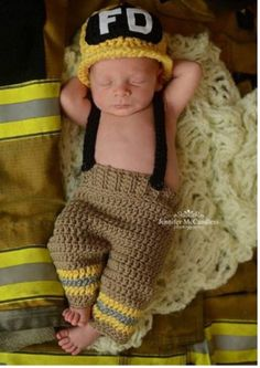 INCLUDES SUSPENDERS Jailey Bugs Crochet Fireman hat by puzo2352