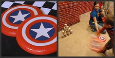 Shield Throwing Throwing a frisbee to explode a tower of cups. Transform a dollar store frisbee in to a shield with vinyl or glued card stock. but do transformer style! Superhero Party Games, Batman Party, Superhero Birthday Party, 3rd Birthday Parties, Boy Birthday, Birthday Ideas, Captain America Party, Captain America Birthday, Train Activities