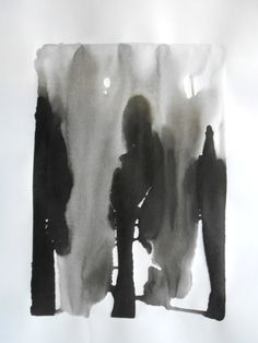 A2 Modern Abstract Black and White Ink Wash Painting by Manjuzaka, €43.00