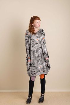 Long sleeve digital printed dress with volume on the hip area and little pockets to hide treasures in! Fur Coat, Long Sleeve, Jackets, Dresses, Fashion, Down Jackets, Vestidos, Moda, Long Dress Patterns
