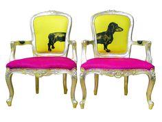 Sausage dog pink yellow Jimmie Martin art furniture