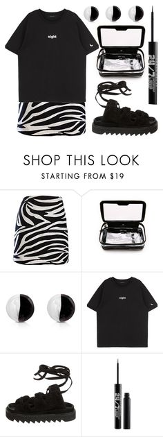"""""""up all night"""" by foundlostme ❤ liked on Polyvore featuring Anya Hindmarch, Antica Murrina, CÉLINE, Urban Decay, monochrome and MINISKIRT"""
