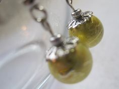 Light moss green drizzled pearl earrings. Simple by ArtsParadis, $7.00