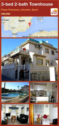 3-bed 2-bath Townhouse in Playa Flamenca, Alicante, Spain ►€99,995 #PropertyForSaleInSpain