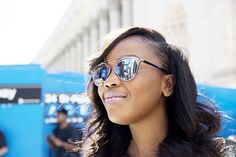 NYFW Street Style Spring 2016 - Keela Code's wavy hair, baby pink lipstick and sunglasses   allure.com