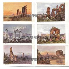 Rome paintings 6 vintage postcards no stamps door vintagepostoffice
