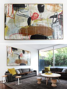 Timoli Mustica and family's Melbourne home via The Design Files. Painting over sofa by by Suzanna Lang, purchased at Thierry B Gallery.