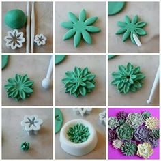 Fondant or clay! Wilton fondant tools work great with clay! Fondant Flower Tutorial, Fondant Flowers, Sugar Flowers, Fondant Bow, Fondant Cakes, Fondant Toppers, Easy Fondant Cupcakes, Easy Fondant Decorations, Fondant Butterfly