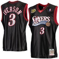 a4f75430093 Men s Philadelphia 76ers Allen Iverson Mitchell   Ness Black 2000-01  Hardwood Classics Authentic Jersey