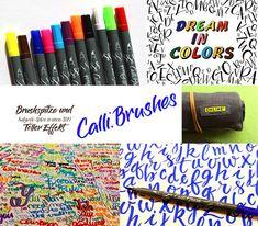 WUNSCHBRIEFES BRUSHPENTEST Calli.Brushes von ONLINE | WUNSCHBRIEFE - Kalligrafie und Handlettering - Kurse - Elke Wunsch Online S, Art Supplies, Calligraphy, Color, Amazing, Wish, Brushes, Lettering, Colour
