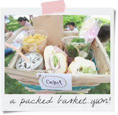 picnic party food. everything's served in individual portions which you put into a little 'hamper' then find somewhere to sit and eat. very clever.