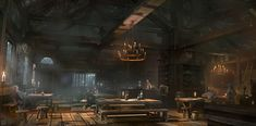 View an image titled 'Pub Interior Art' in our Thief art gallery featuring official character designs, concept art, and promo pictures. Fantasy Concept Art, Dark Fantasy, Fantasy Inn, Environment Concept, Environment Design, Fantasy Places, Fantasy World, Taverna Medieval, Medieval Combat