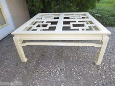 Ming Coffee Table Oriental Fretwork Hollywood Regency Asian Overlapping White