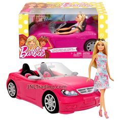 Year 2017 Barbie Fashionistas Series 12 Inch Doll Vehicle Playset - BARBIE in Sleeveless Dress with Sunglasses and Pink Convertible