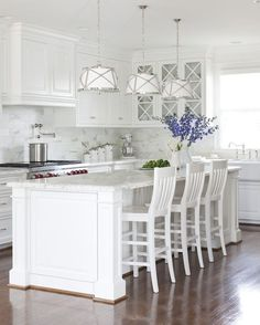 Traditional Kitchen with Ms International  Carrara White Marble, Kitchenaid stand mixer, Olsen linen drum pendant
