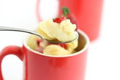 Light Strawberry Mug Cake | Kirbie's Cravings | A San Diego food blog