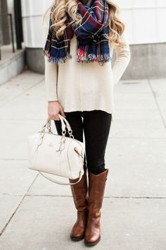 plaid-scarf-riding-boots
