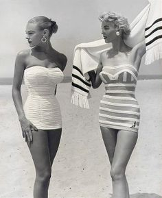 Retro Vintage vintage swimwear retro swimsuit vogue Everyone would look great in these today in the 2010 Foto Fashion, 1950s Fashion, Fashion History, Fashion Vintage, Beach Fashion, Travel Fashion, Club Fashion, Fashion Tips, Classy Fashion