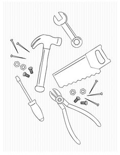 tools printable coloring pages | tool coloring pages for kids | CARPENTER coloring pages ...