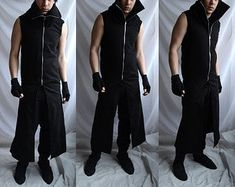 Sleeveless Trench Coat, Sleeveless Hoodie, Post Apocalyptic Fashion, Leather Trench Coat, Long Hoodie, High Collar, Suits You, Snug Fit, Hoodies