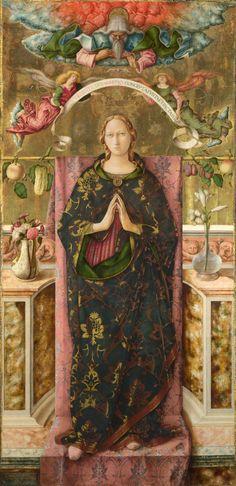 CARLO CRIVELLI (1435 – 1495) - The Immaculate Conception. María fue concebida sin pecado original, sin mancha. El dogma fue proclamado por el Papa Pío IX el 8 de diciembre de 1854, en su bula Ineffabilis Deus.