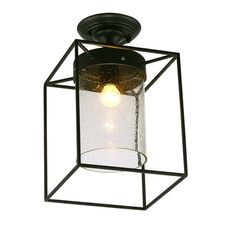 LNC 1-Light Industrial Pendant Light with Cage,Matte Black,Seed Glass Sahde