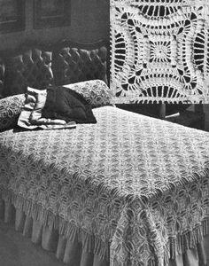 Lancaster Motif Bedspread Vintage Crochet Pattern for download