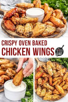 Make perfectly crispy Oven Baked Chicken Wings with this easy method, including seven different flavor options for wings everyone will love. #ovenbakedchickenwings #chickenwings Yummy Chicken Recipes, Yum Yum Chicken, Chili Recipes, Yummy Food, Baked Chicken Wings Buffalo, Crispy Baked Chicken Wings, Yummy Appetizers, Appetizer Recipes, Bacon Wrapped Pineapple