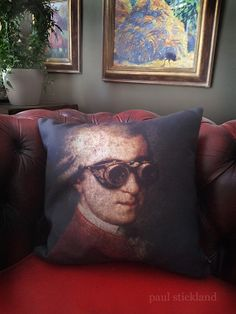 Good to see Steampunk Mozart relaxing under his favourite +Liz Graham-Yoollpainting/s... Looking verycomfyWolfgang.  Its all about cushions and pillows today! (Wish Id ordered more...) http://society6.com/PaulStickland/pillows #steampunk  #steampunkmozart
