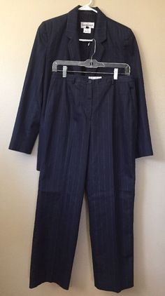 Bloomingdale's Sz 8 Womens 2 Pc Jacket Pant Suit Navy White Pin Stripe Career  | eBay