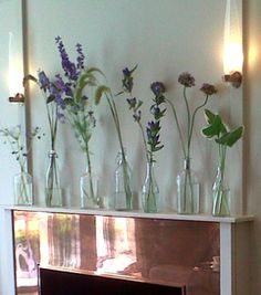 Flowers on a copper mantlepiece