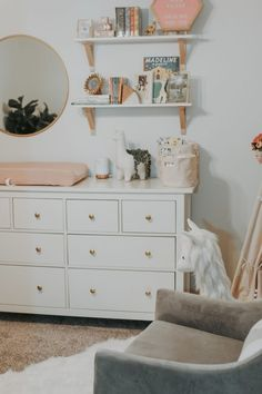 Baby nursery shelves decor 18 ideas for 2019 Nursery Dresser, Nursery Shelves, Bedroom Dressers, Nursery Wall Decor, Nursery Room, Girl Nursery, Girl Room, Nursery Ideas, Project Nursery