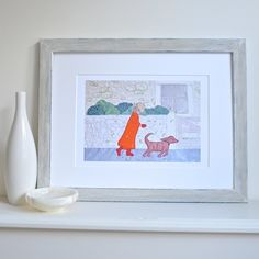 Lady and dog taking an autumn walk picture - 'A Blustery Walk' print £29.00