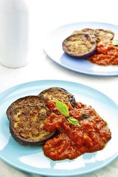 Crispy baked eggplant with basil tomato sauce