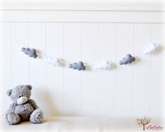 Cloud garland  white and grey felt clouds  by LullabyMobiles