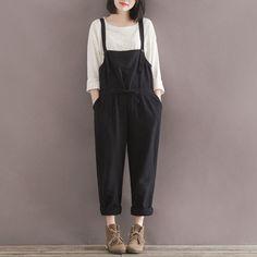 Woman Overalls Harembroek Black Cotton Plus Size Pants Casual Loose Trousers Women Summer Pants Wide Leg Pants