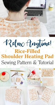 Rice-Filled Shoulder Heating Pad {Sewing Pattern & Tutorial} Sitting and working on a computer for hours a day has taken its toll over the last 15 years, fi Sewing Projects For Beginners, Sewing Tutorials, Sewing Tips, Sewing Hacks, Diy Projects, Bag Tutorials, Sewing Patterns Free, Free Sewing, Shoulder Heating Pad
